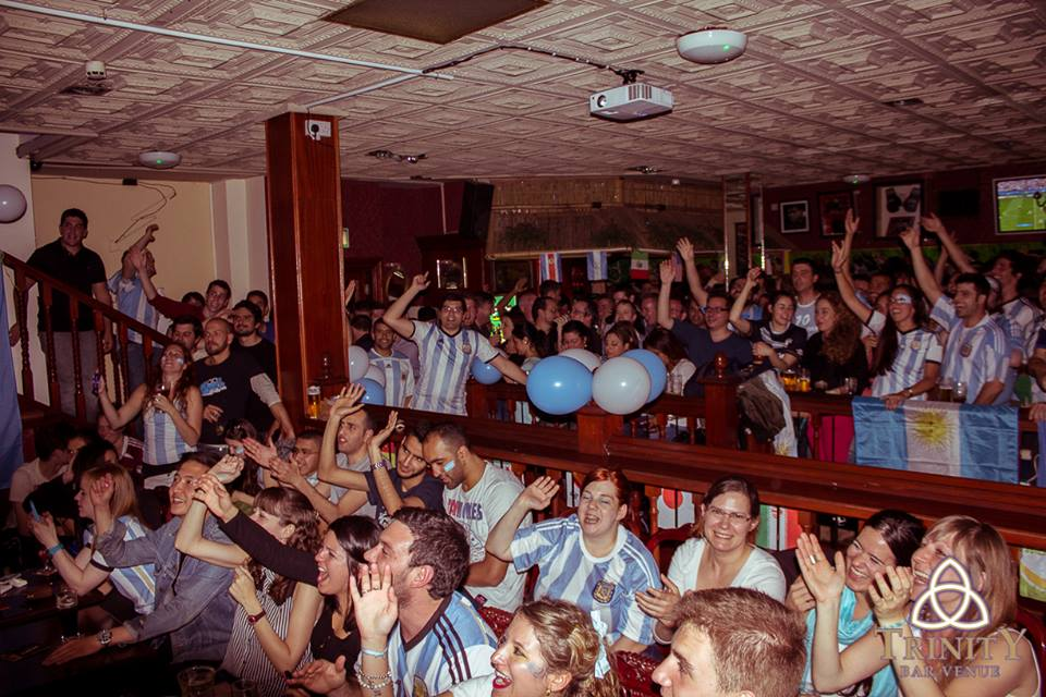 Argentinian fans celebrating during the World Cup