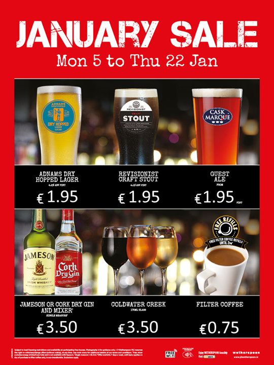 Wetherspoons January sale from 2015