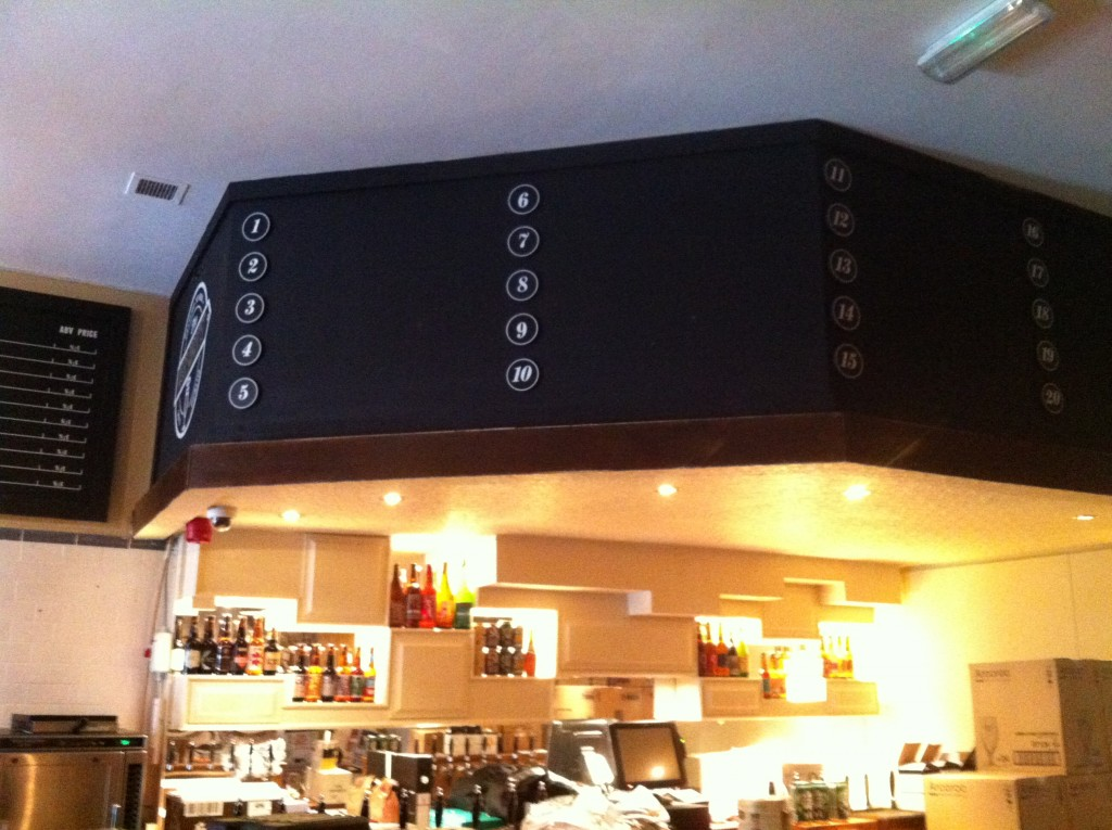 This panel above the bar will tell you what beer is in the numbered taps. They have slates that stick on so its easy to change around.