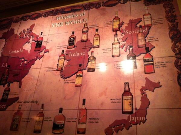 The whiskey map on the wall of Bowes snug