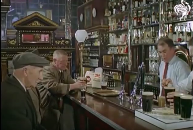 The bar in 1965. Some paintings and decorations are visible.