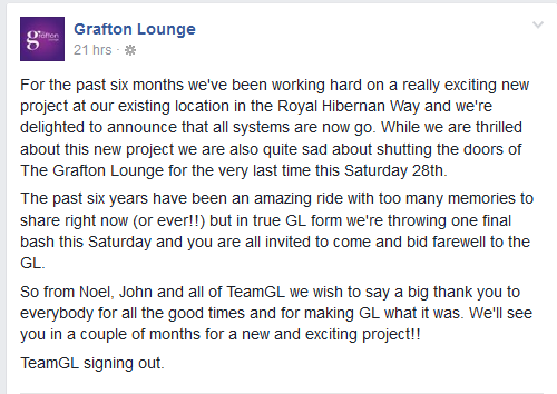 The statement on the bars facebook.