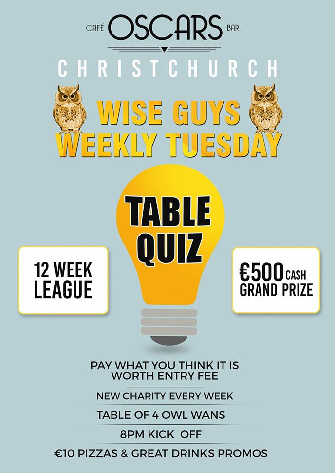 Wiseguys a new weekly table quiz on tuesdays publin for Table quiz dublin