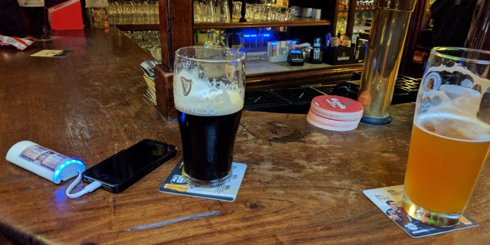 An inventive solution to charging your phone in a pub