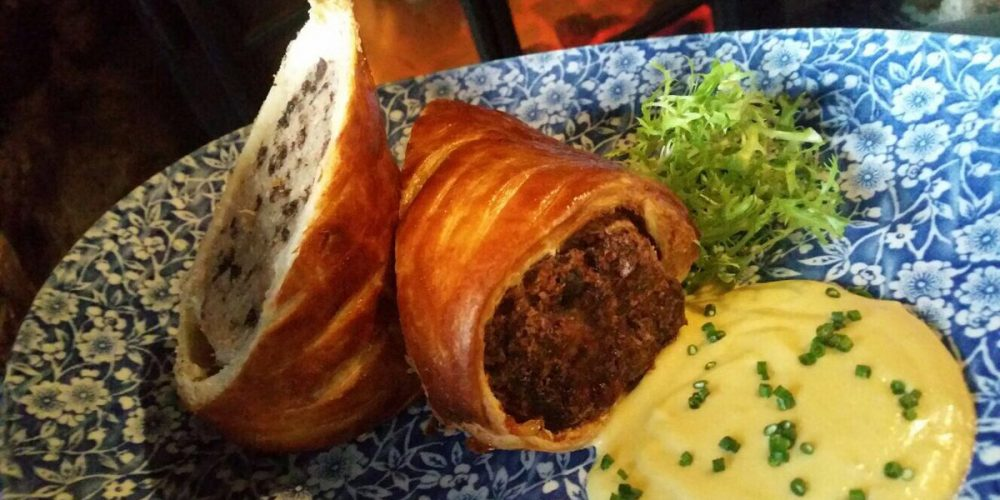 Here's an amazing pub snack; gourmet black pudding sausage rolls.
