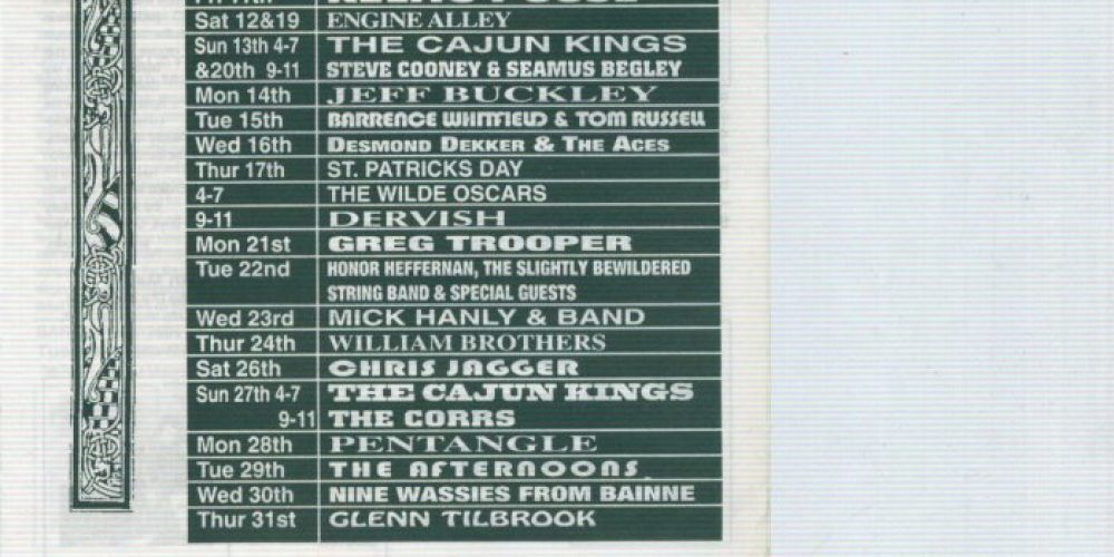 The poster from when Jeff Buckley played Whelan's 23 years ago.
