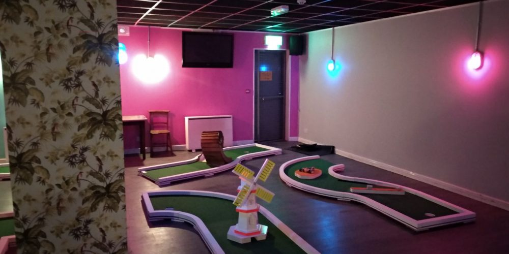They've installed a crazy golf course in The Back Page pub.