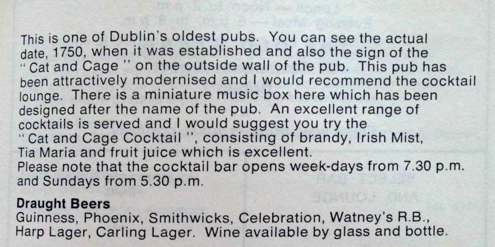 We found a 50 year old cocktail recipe belonging to a Dublin pub