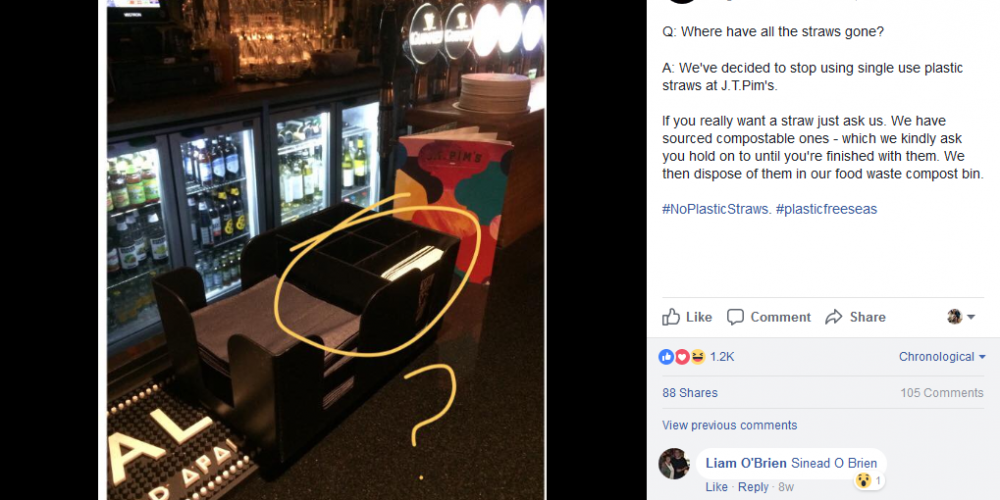 Give up yer' oul straws. Some Dublin pubs are getting rid of plastic straws.