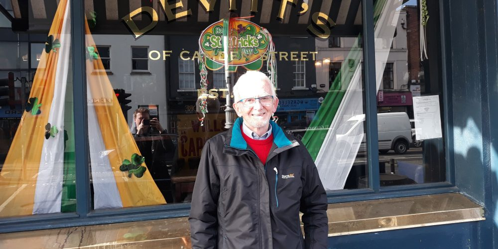 Celebrating over 40 years behind the bar: Frank Boyce in Devitts.