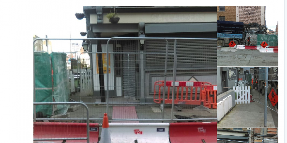 A pub blocked in by the Luas works are running a promo to highlight that they're still open.