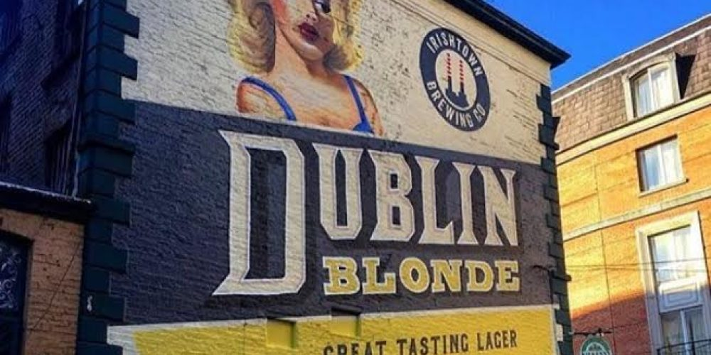 There's a cool new craft beer mural on the side of a Dublin pub