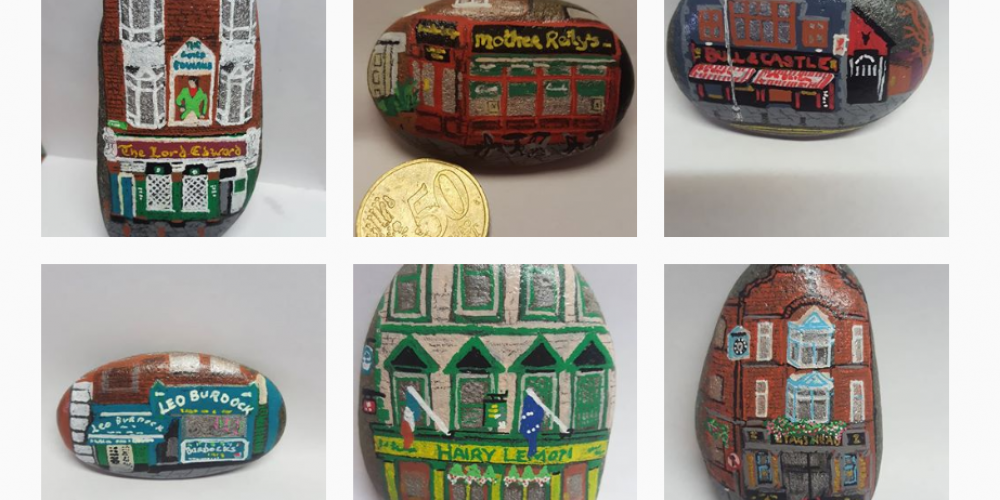 There's an Instagram where someone paints Dublin pubs on stones and we really like it.