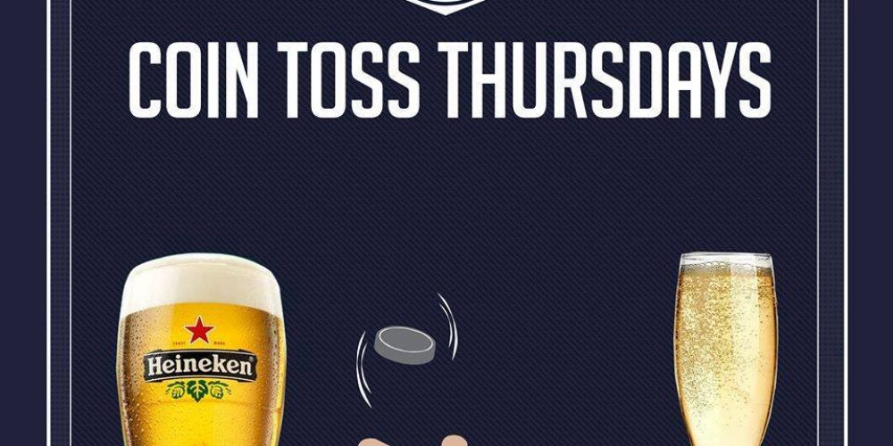 Toss a coin, win beer or prosecco.